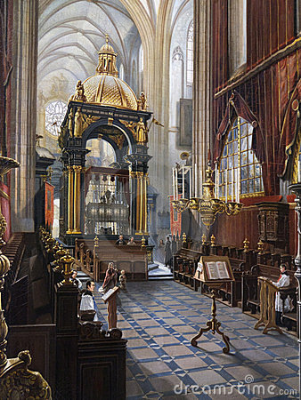 Painting of Wawel Cathedral - Krakow - Poland Editorial Stock Image