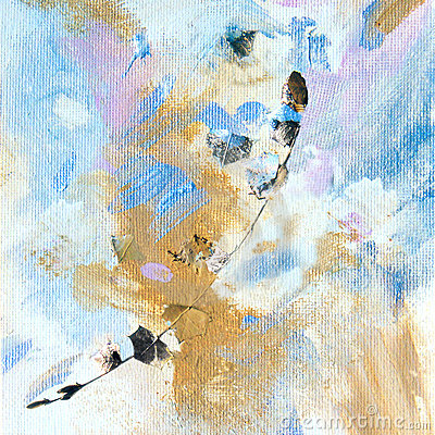 Free Painting With Gold Leaf And Twig Royalty Free Stock Photography - 313987