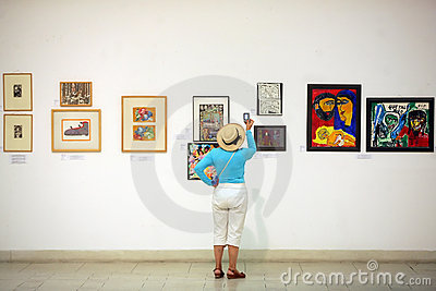 Paintings in an exhibition Editorial Stock Photo