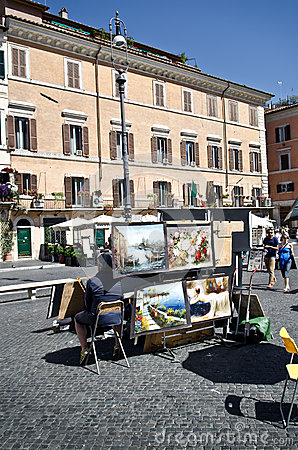 Paintings in Piazza Navona Editorial Image