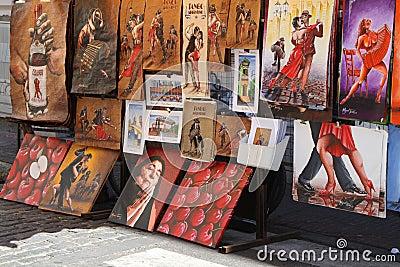 Paintings in San Telmo Editorial Photo