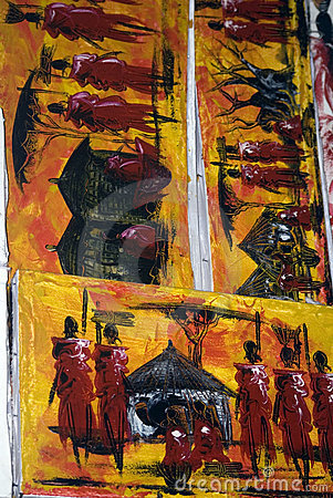 Paintings, Stone Town, Zanzibar, Tanzania Editorial Stock Photo