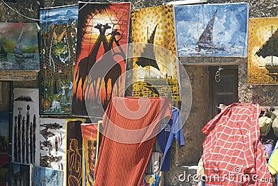 Paintings, Stone Town, Zanzibar, Tanzania Editorial Photo
