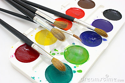 Paints with brushes