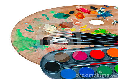 Paints and brushes.
