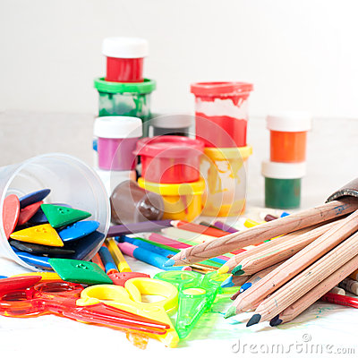 paints crayons colored pencils children 39 s scissors stock image