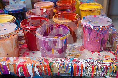 Paints in a painter s studio