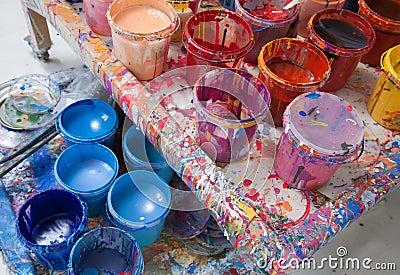 Paints in a painter s studio