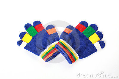 Pair baby gloves on white background