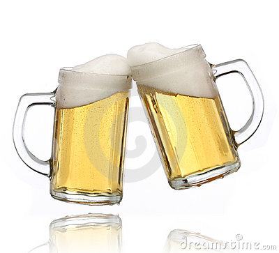 Pair of beer glasses making a toast