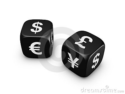 Pair of black dice with currency sign