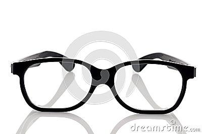 A pair of black framed nerdy eye glasses