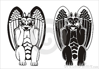 A pair of black and white gargoyles