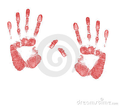 A Pair Of Blood Stained Hand Prints