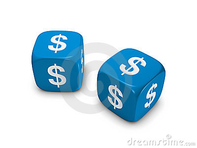 Pair of blue dice with dollar sign