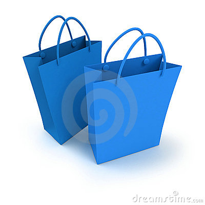 Pair of blue shopping bags