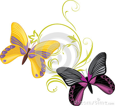 Pair of a bright butterflies with ornamental sprig