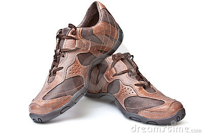 Pair of brown athletic shoes