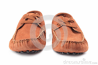 Pair of brown male moccasins