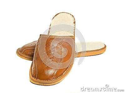 Pair of brown mens house slippers