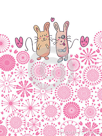 Pair Cat and Mouse Card Circle Flowers_eps