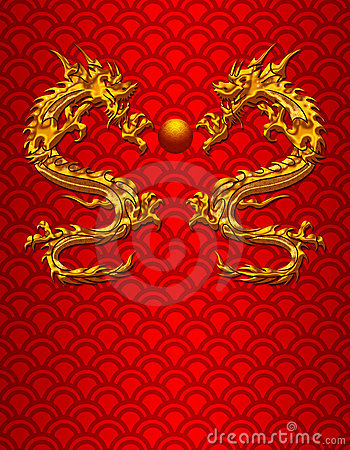 Pair of Chinese Dragons on Scale Background