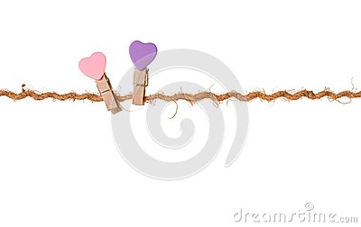 Pair clothespins with valentines  on rope