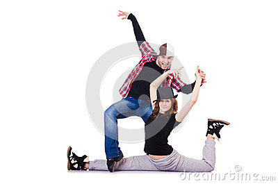 Pair of dancers dancing