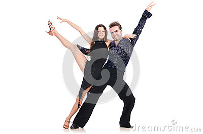 Pair of dancers isolated