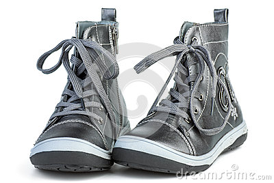 Pair of dark-gray leather boots