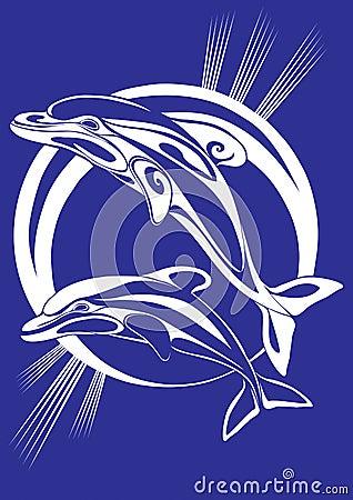 Pair dolphins - a print