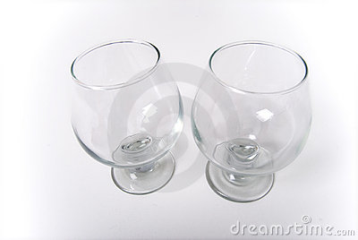 Pair of empty wine glasses