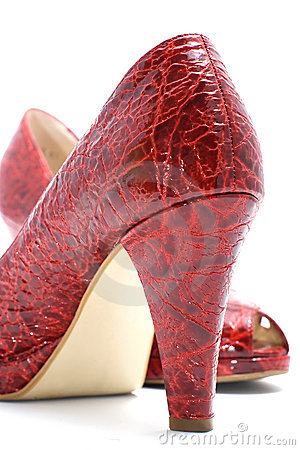 Pair of fashionable red woman shoes