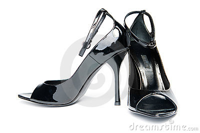 Pair of female glossy shoes