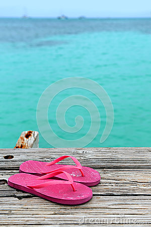 Pair of Flip Flops on Pier
