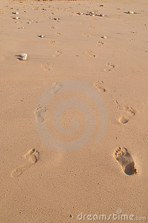Pair of Footsteps in Sand