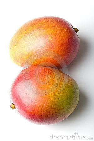 Pair of fresh juicy ripe mango tropical fruits