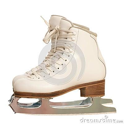 Pair of girl figure skates over white
