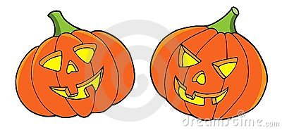 Pair of Halloween pumpkins