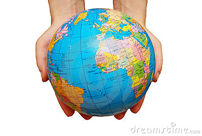 Pair of hands holding the globe