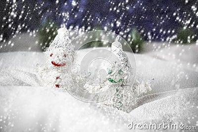Pair of happy snowmen