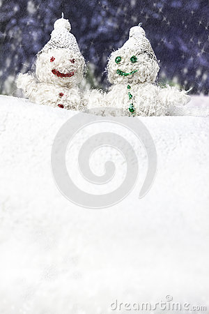 Pair of happy snowmen