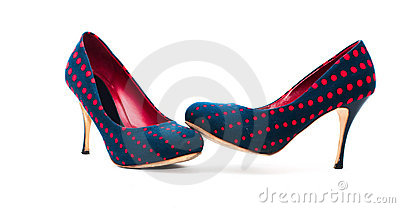 Pair of high-heeled polka dot blue and red shoes