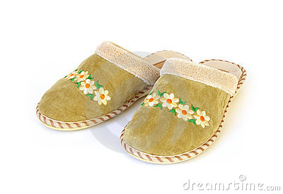 Pair slippers isolated
