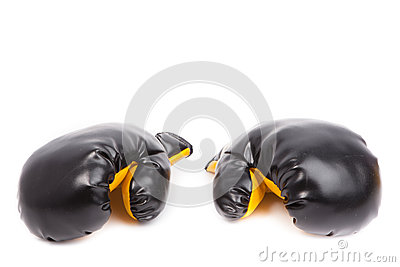 Pair of leather boxing gloves