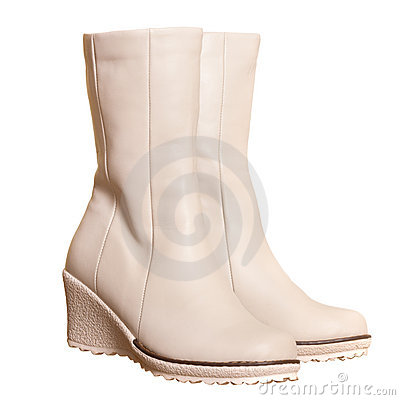 Pair of light beige boots