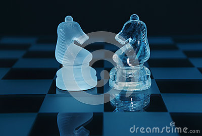 Pair of chess knights partnership