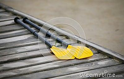 Pair oars on the pier