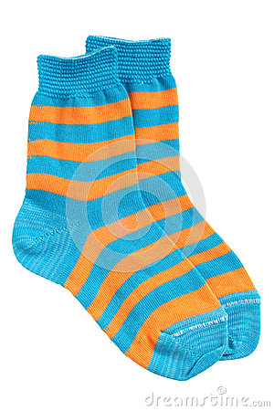 Free Pair Of Child S Striped Socks Stock Photography - 55032292