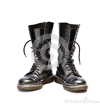 Free Pair Of Mid-calf 14 Eyelet Black Lace-up Boots Stock Photos - 41799833